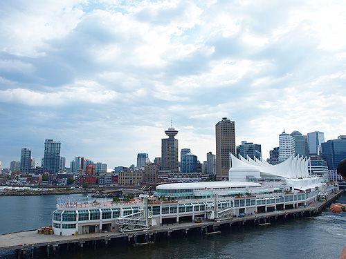 The Vancouver skyline as seen from the deck of our ship as we departed